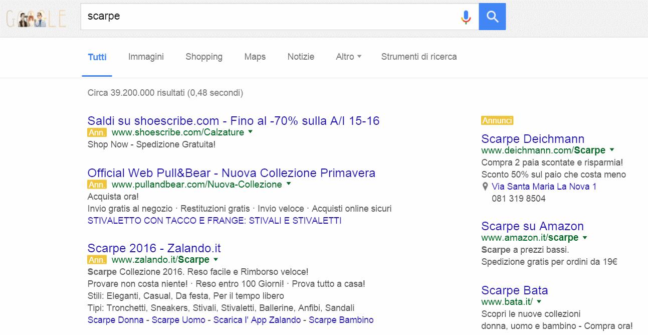 """Se si cerca """"Scarpe"""" su Google, tutti i primi risultati della ricerca sono a pagamento"""