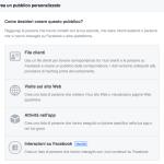 """Pubblicità su Facebook: il pubblico """"interazioni sulla pagina""""."""